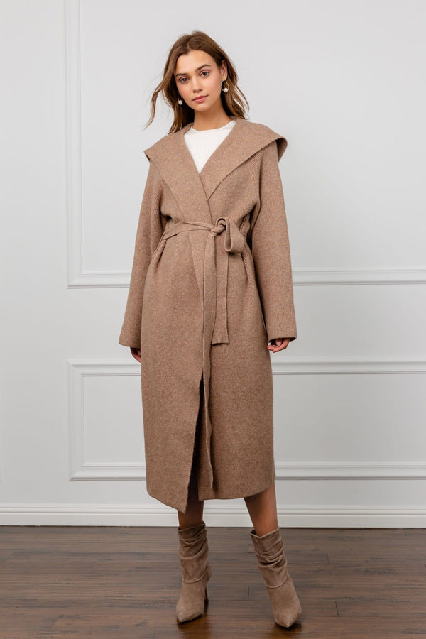 Brown Hooded Wrap Duster Coat | J.ING Women's Coats & Jackets