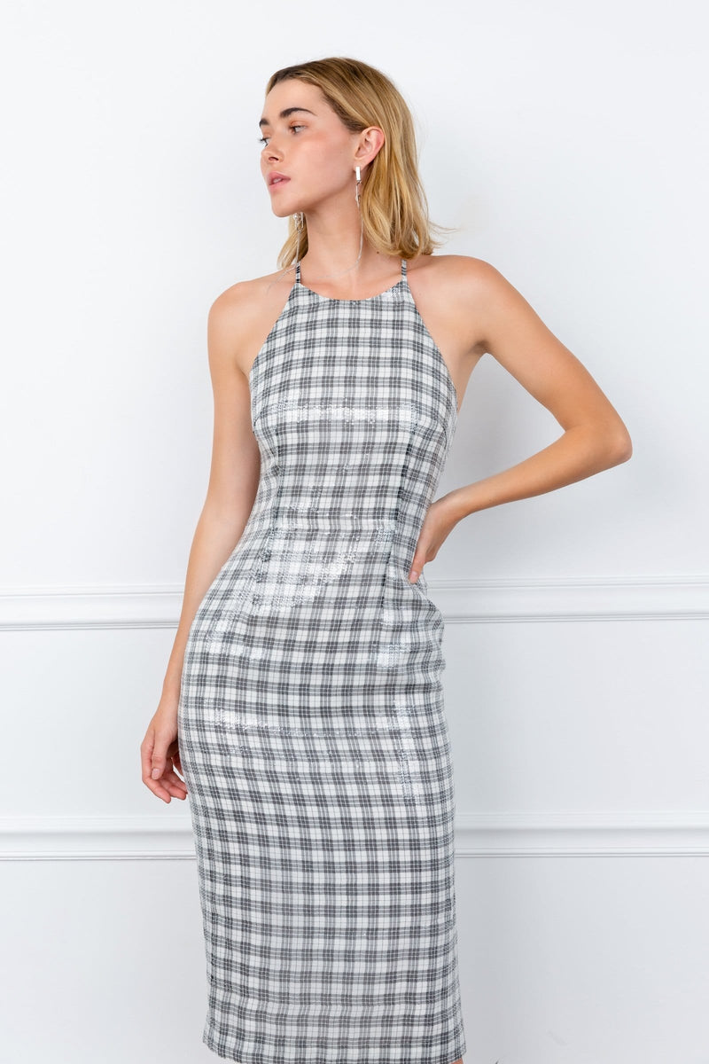 Grey Gingham Halter Midi Sequin Dress | J.ING Women's Apparel