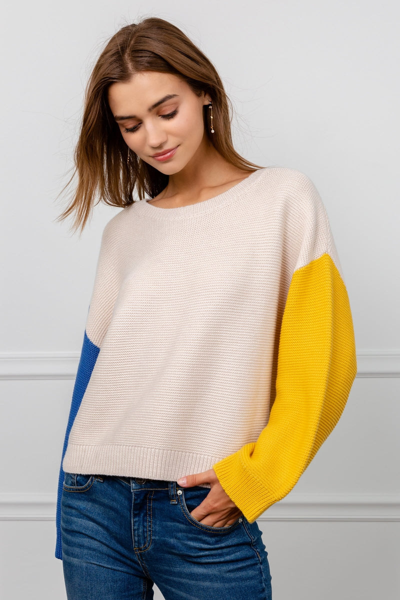 Beige Knitted Sweater with Blue and Yellow Sleeves | J.ING Women's Knitwear