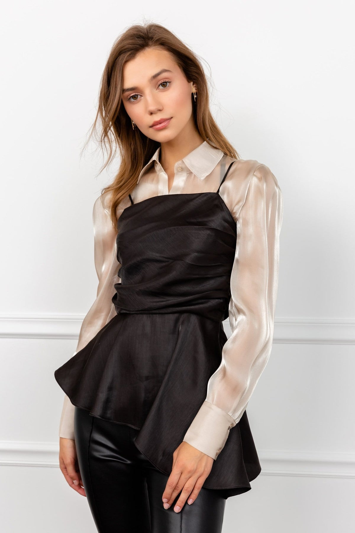 Satin Black Bodice Flowy Tunic by J.ING Women's Clothing