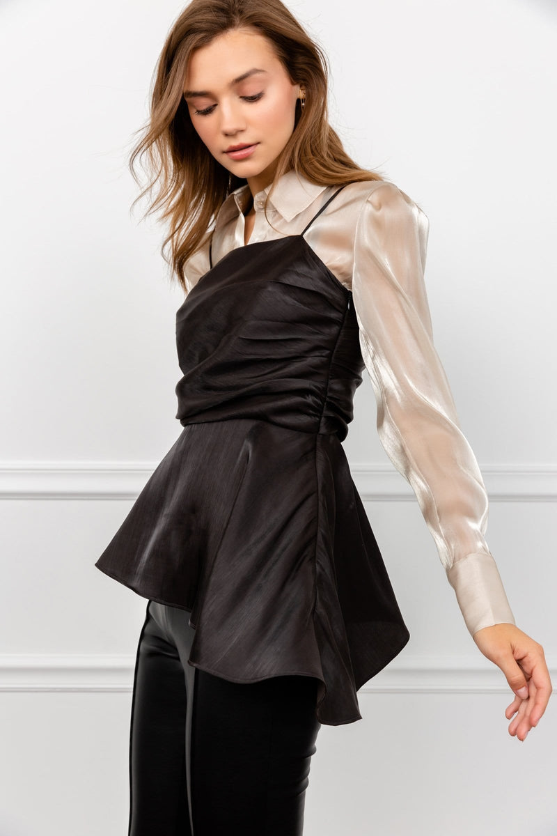 Abyss Black Satin Tunic