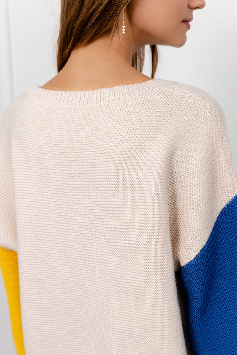 Cory Blue and Yellow Colorblock Sweater