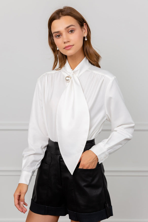 White Collar Tie Blouse with Pearl Button by J.ING Women's Clothing