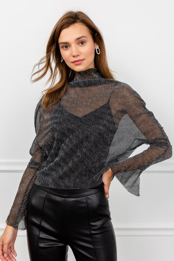 Sheer Glittery Long Sleeve Chiffon Cowl Neck | J.ING Women's Tops