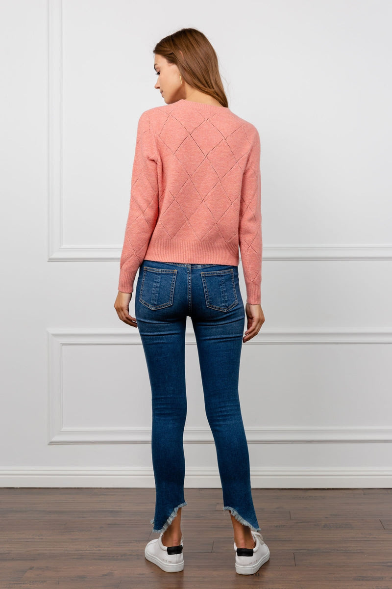 Corinne Coral Knitted Sweater