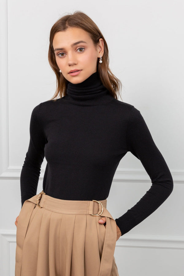 Black Fitted Long Sleeve Turtleneck Top | J.ING Women's Knitwear