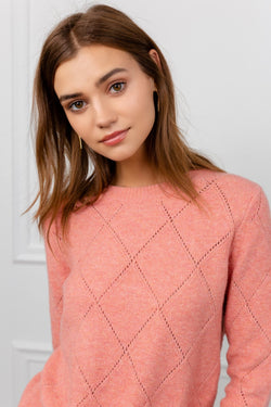 Coral Colored Diamond Knit Sweater | J.ING Women's Knitwear