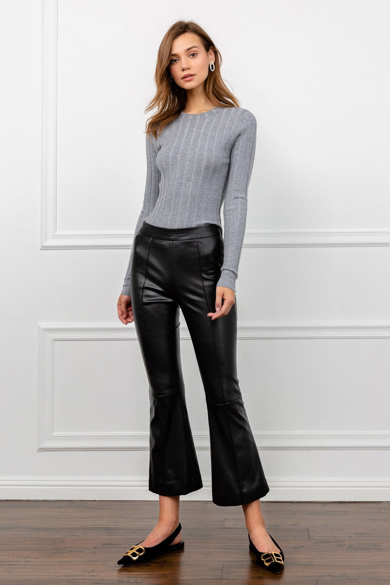Black Vegan Leather Flared Pants | J.ING Women's Bottoms