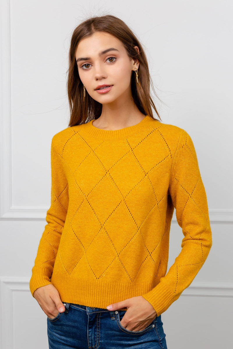 Bright Yellow Diamond Knit Sweater | J.ING Women's Knitwear