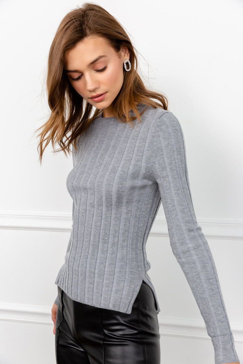 Non Plus Grey Ribbed Long Sleeve