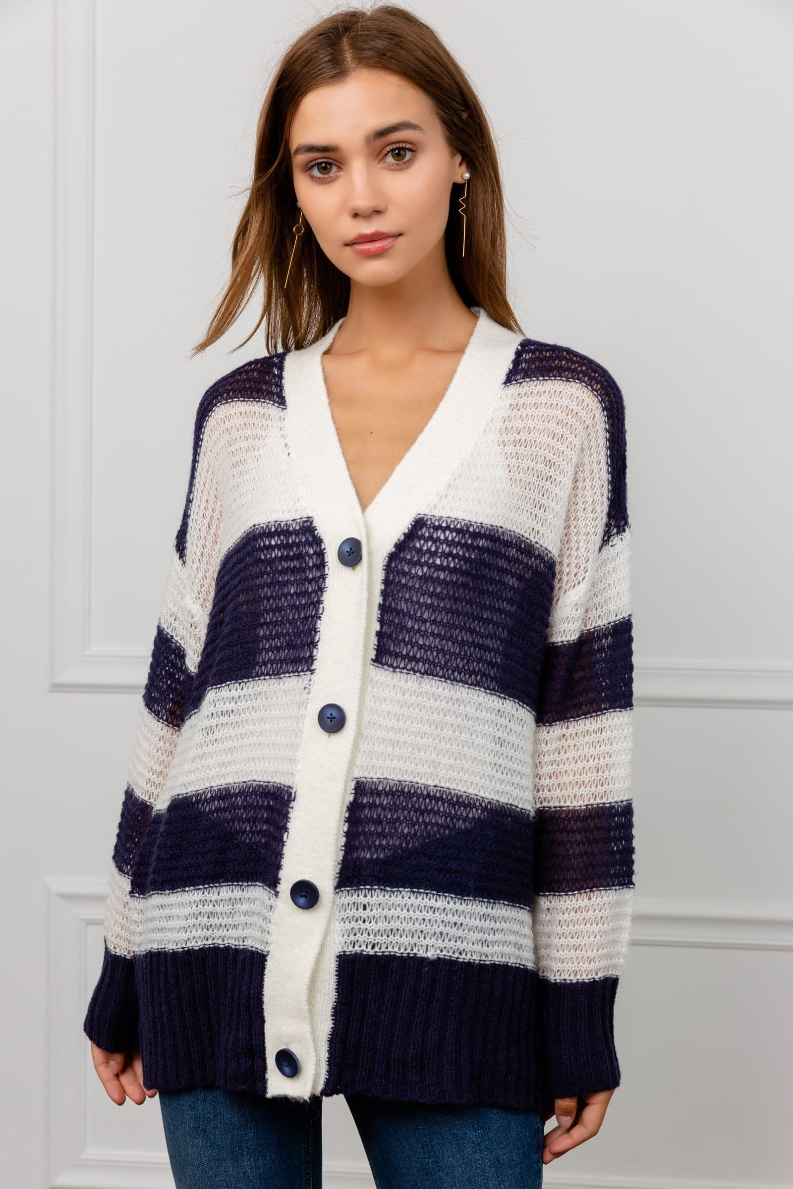 Oversize Loose Knit Fuzzy Black & White Cardigan | J.ING Women's Knitwear