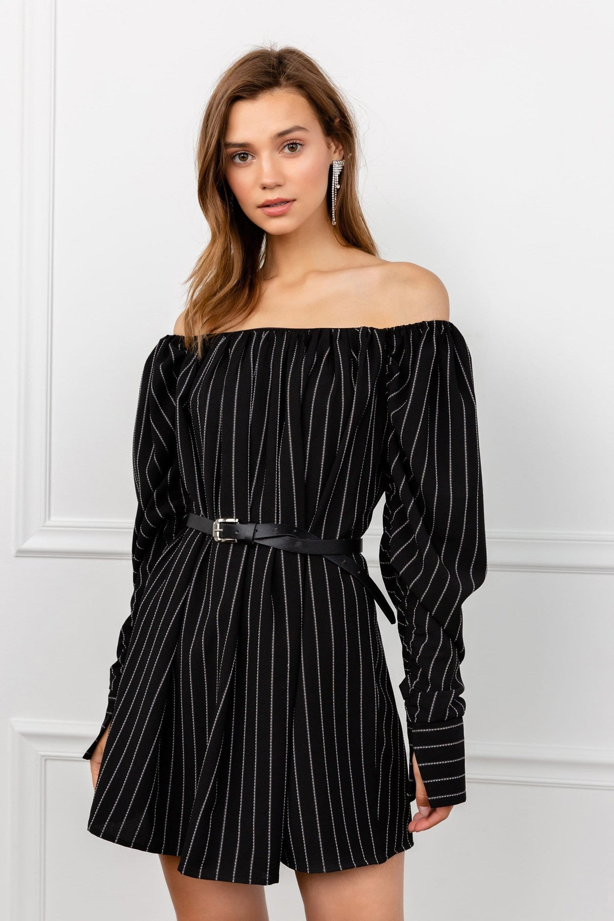 Black Off the Shoulder Striped Mini Dress with Belted Waist and Long Sleeves | J.ING