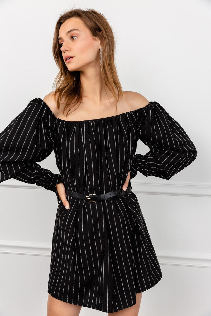 Jazzy Black Striped Dress