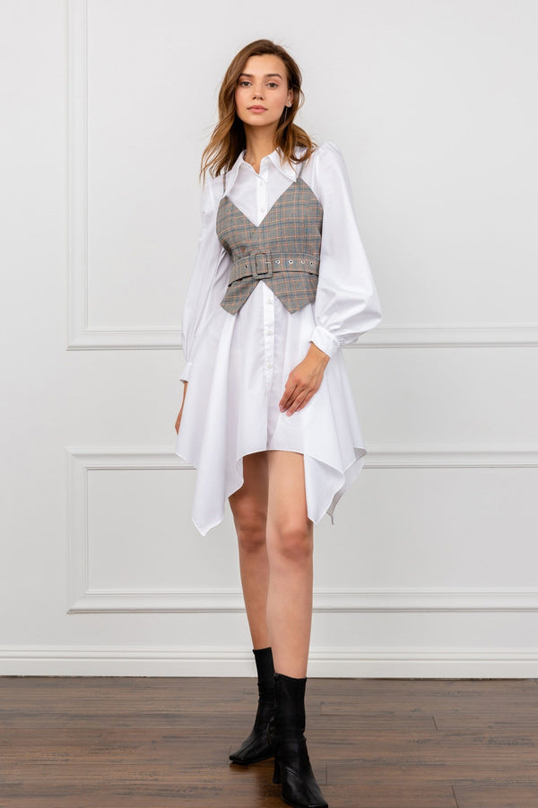 White Shirt Dress with Corset Vest Overlay | J.ING Women's Dresses