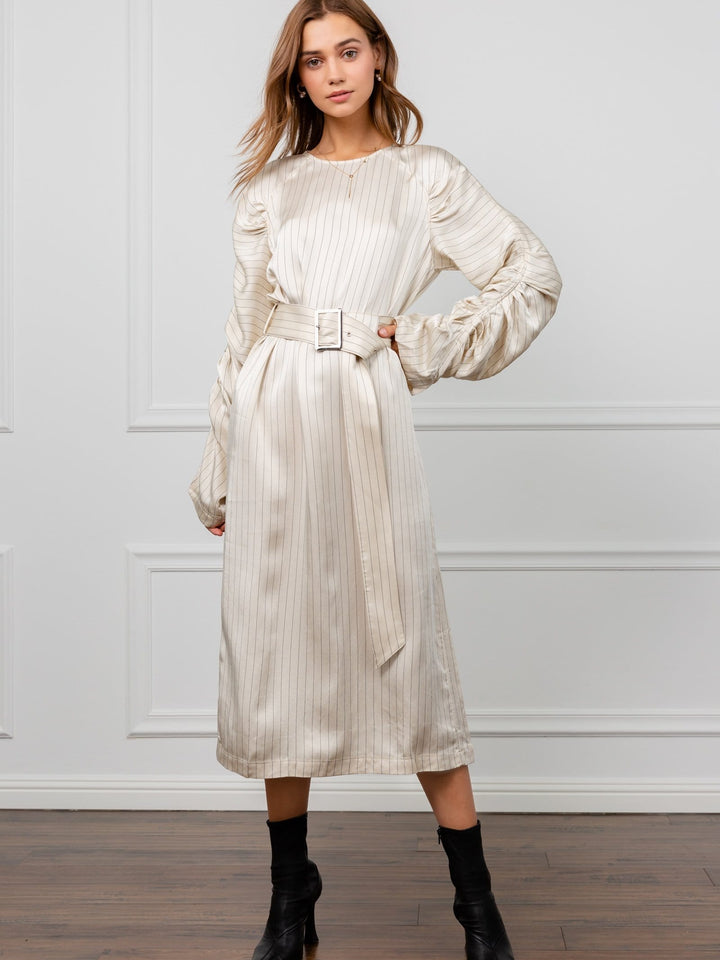 Silky White Striped Long Sleeve Midi Dress | J.ING Women's Apparel