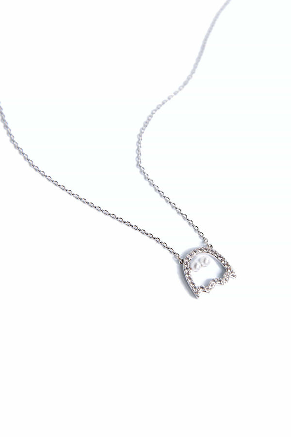Silver necklace with ghost outline encrusted in zircon crystals | J.ING women's accessories