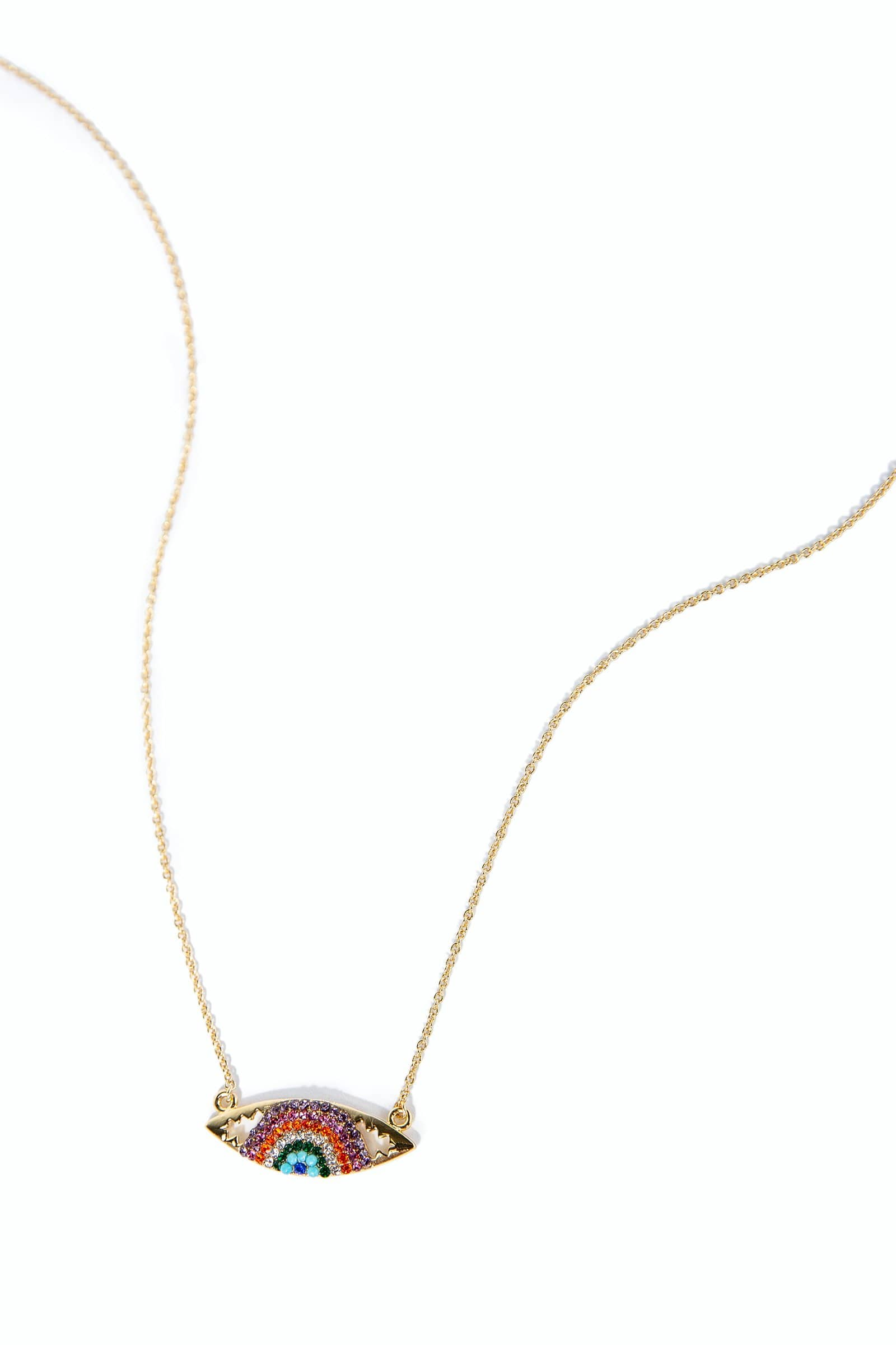 Eye necklace with multi-colored zircon crystals | J.ING women's accessories