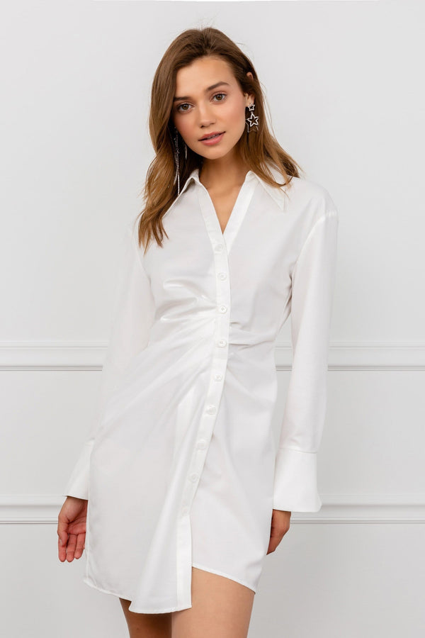 White long sleeve shirt dress by J.ING Women's Apparel