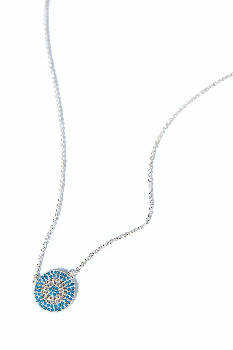 Blue Circle Pendant with Faux Zircon crystals by J.ING Women's Necklaces & Accessories