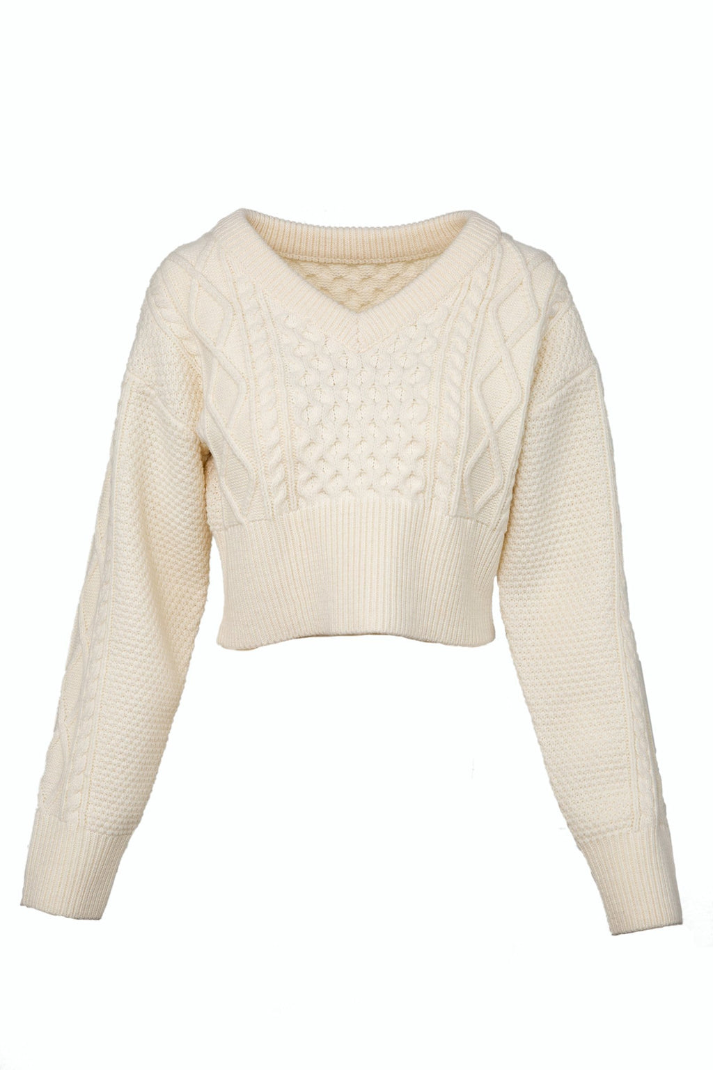 Lexi White V-Neck Sweater by J.ING women's clothing