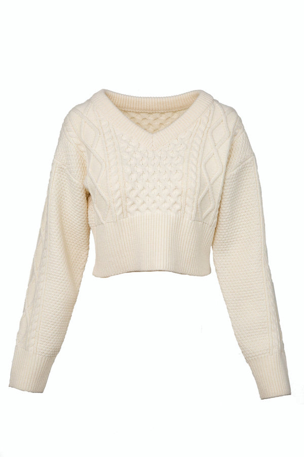 Lexi White V-Neck Sweater