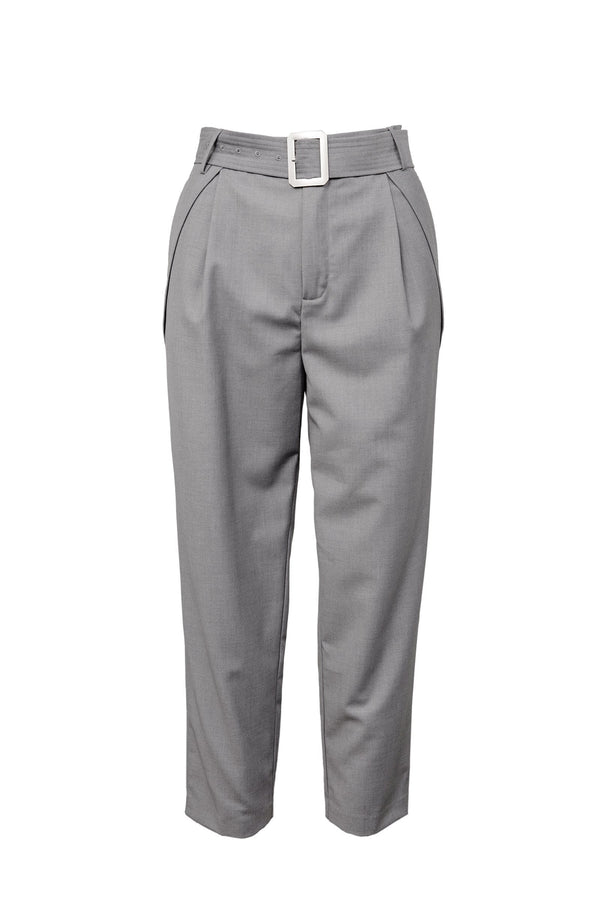 Silver Buckle Cropped Trousers in Grey