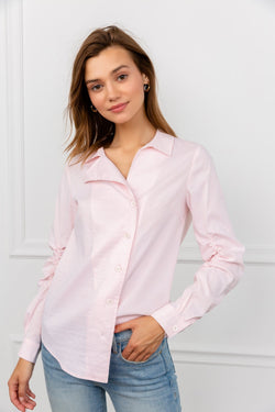 Light Pink Asymmetrical Long Sleeve | J.ING Women's Tops