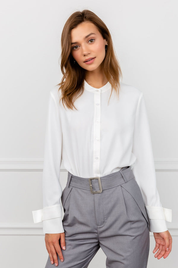 Austere White Collarless Blouse