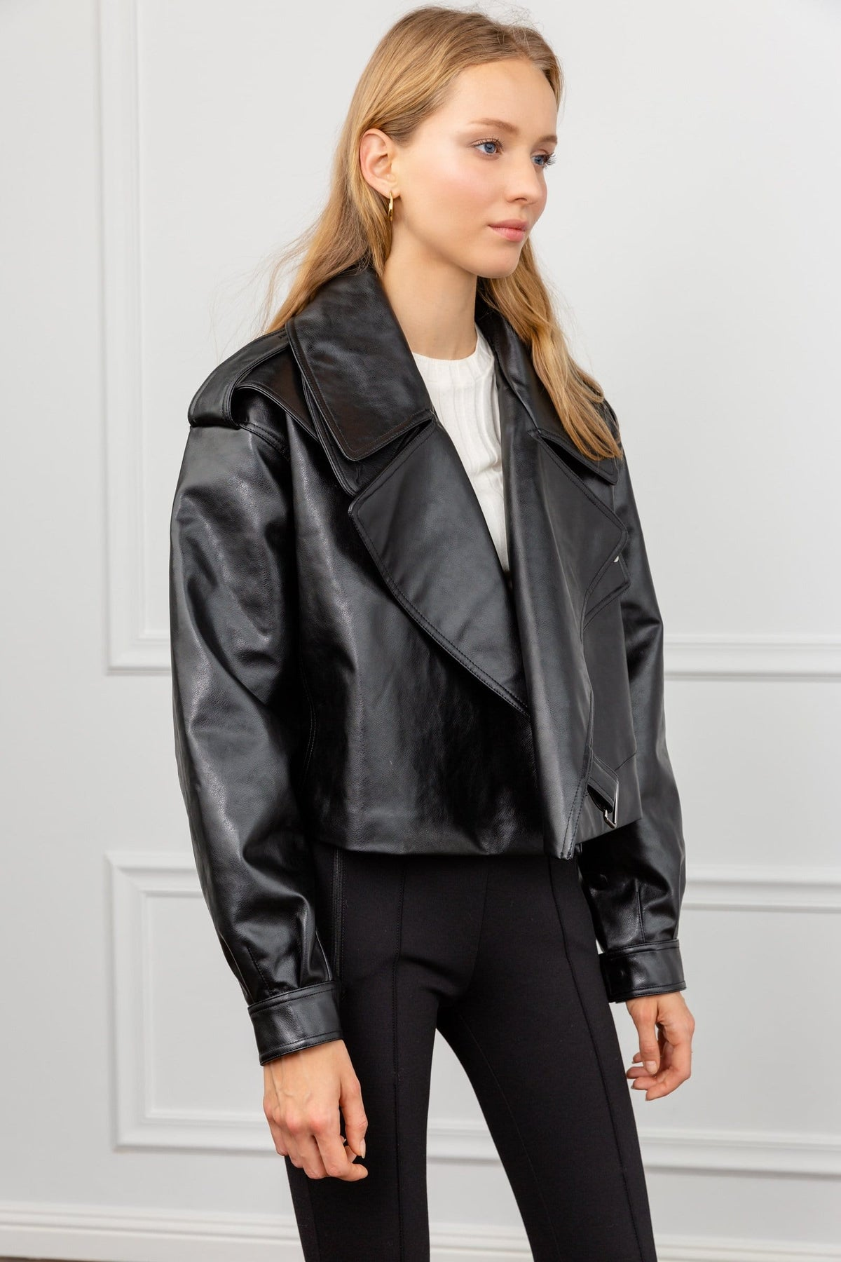 Alexa Black Oversize Vegan Leather Jacket