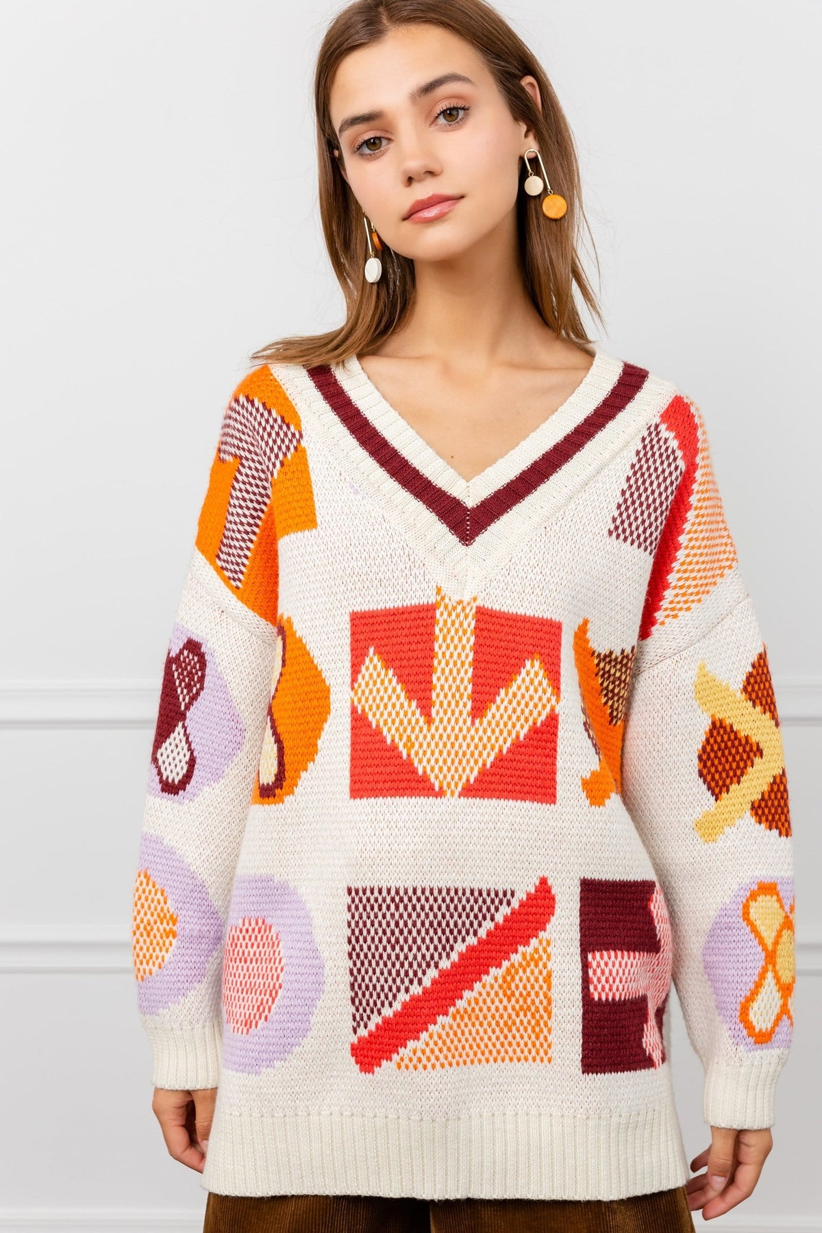 Symbols Cable Knit Sweater