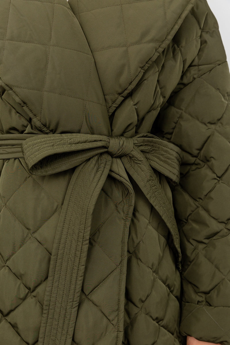 Dorian Green Quilted Duster