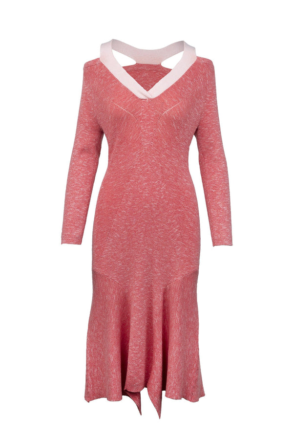 Maryam Coral Knit Midi Dress