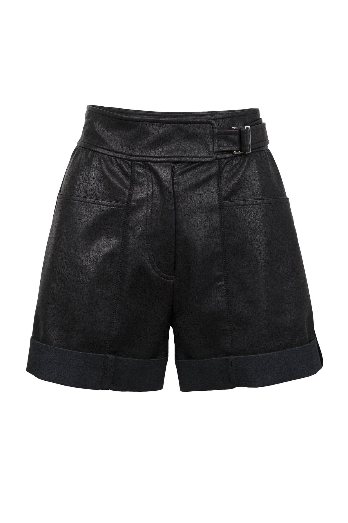 Caryn Black Leather Belted Shorts