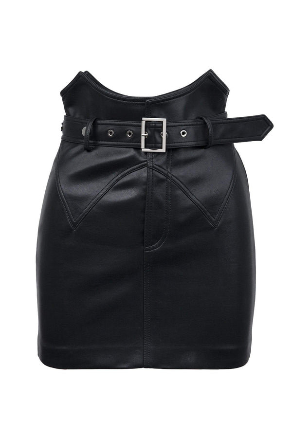 Motor Black Leather Skirt