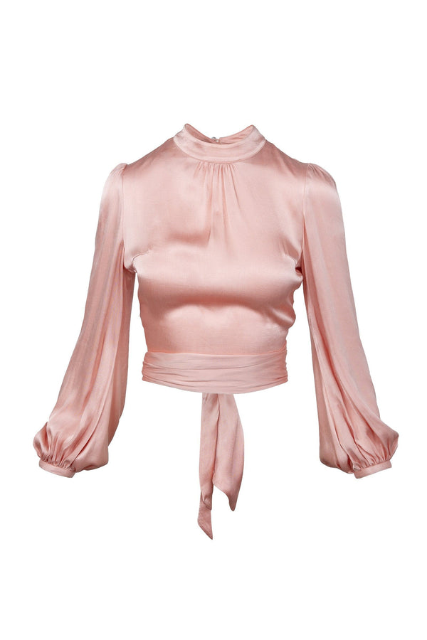Blush Satin Tie Blouse