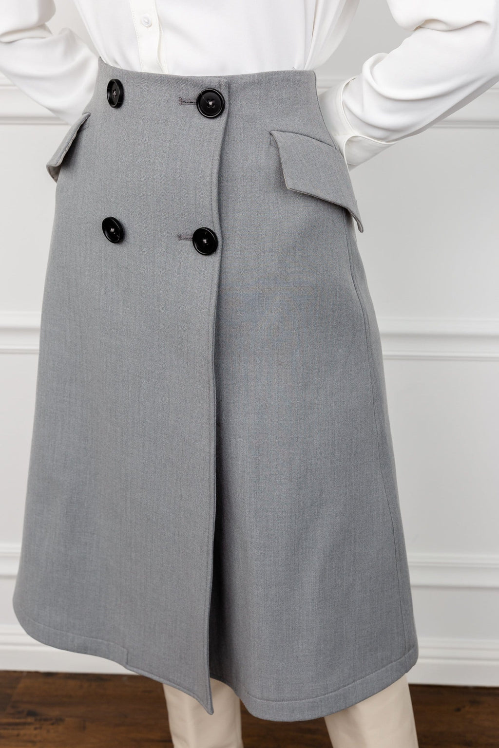 Graze Grey Midi Skirt