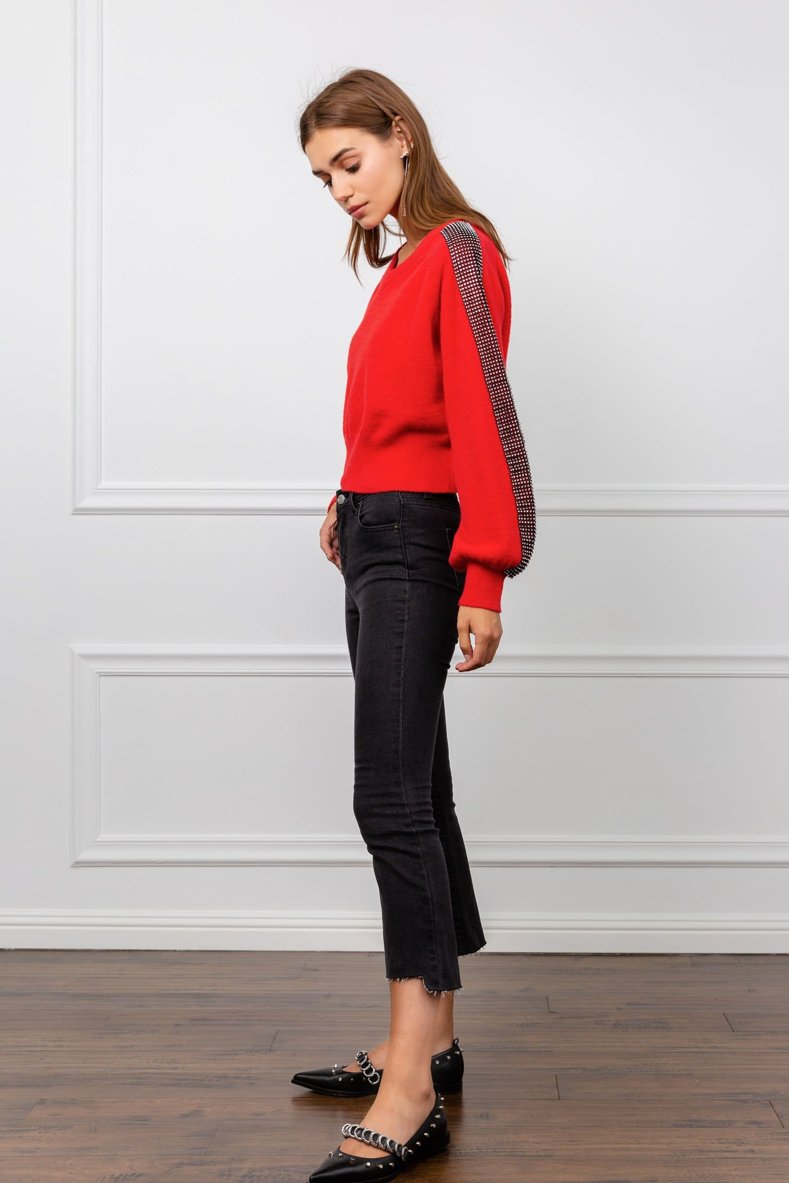 Depp Red Black Panel Sweater