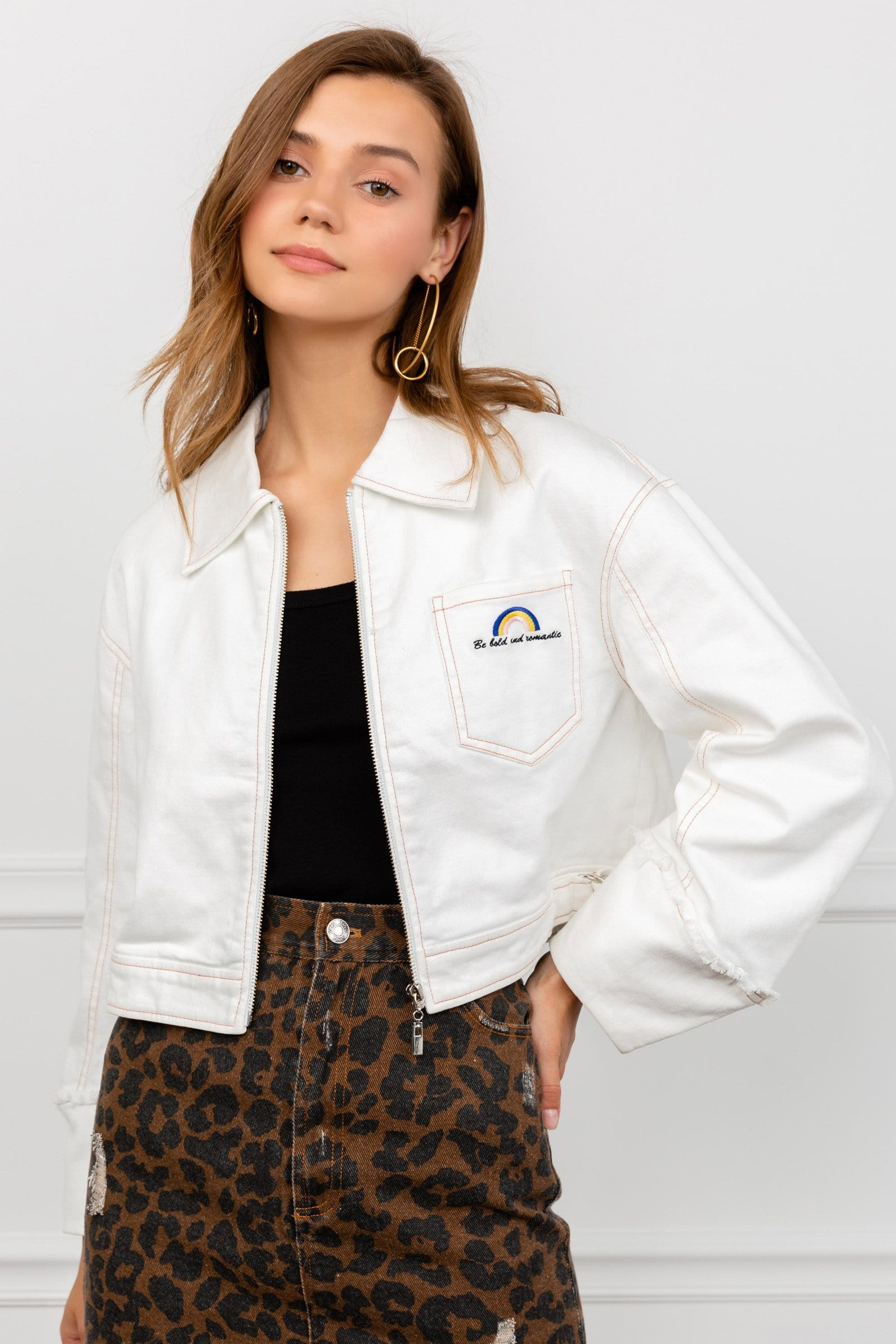 cropped white women's denim jacket