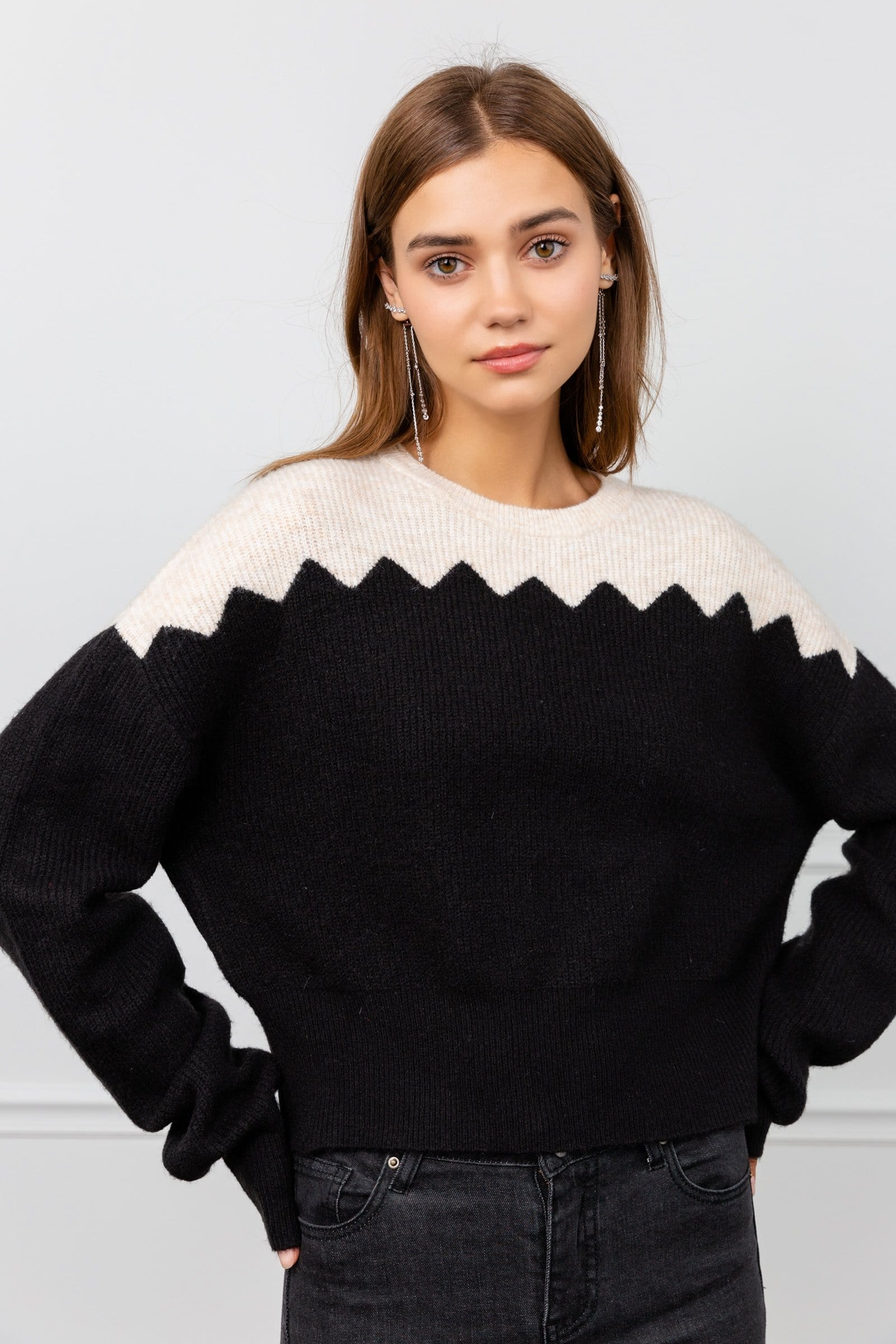 Jagger Black and White Sweater