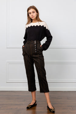 Black Ankle Cropped Trousers with Orange Pinstriped Pattern | J.ING Women's Pants