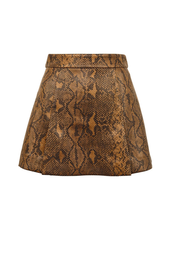 Brown Snakeskin Mini Skort