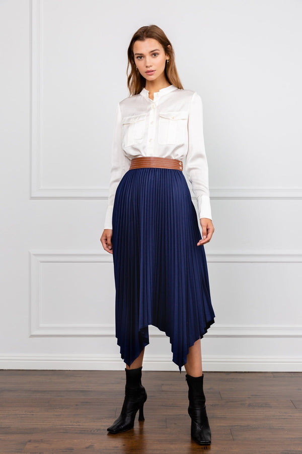 Lynch Blue Handkerchief Midi Skirt