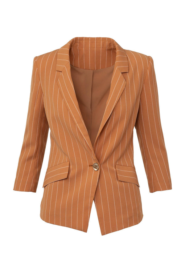Sophie Orange Striped Blazer