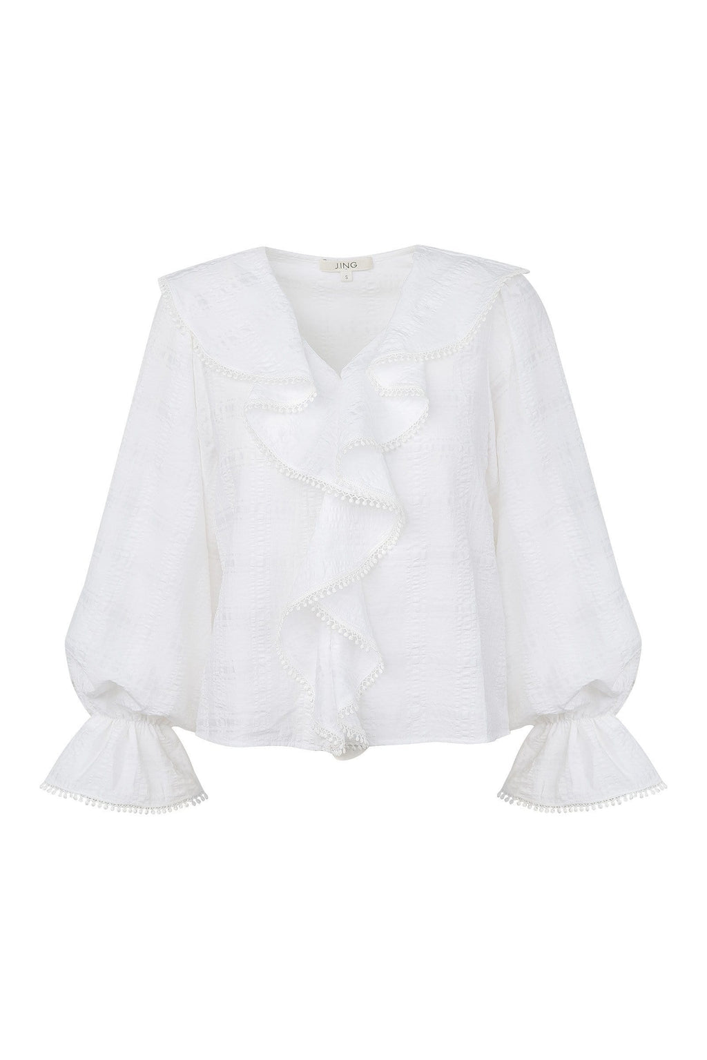 Eleanor White Ruffled Blouse | J.ING Women's Apparel