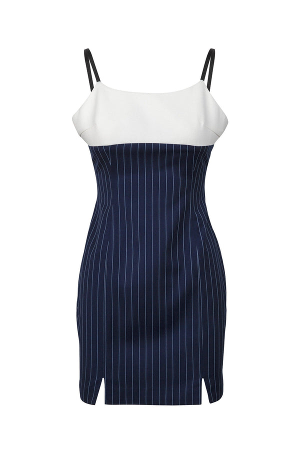 Navy Pinstriped Bodycon Dress