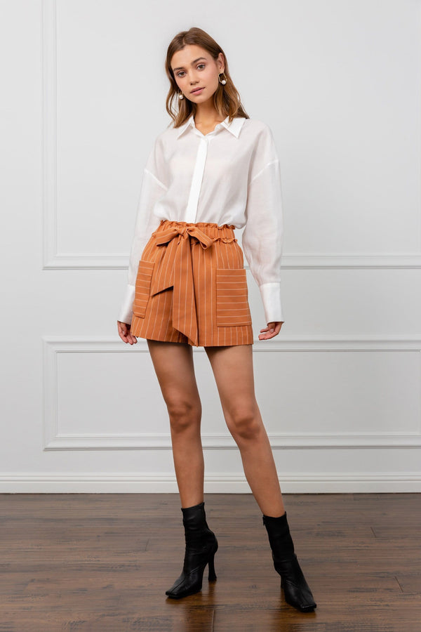 Orange Women's Shorts with Bow Tied Belted Waist | J.ING Women's Workwear