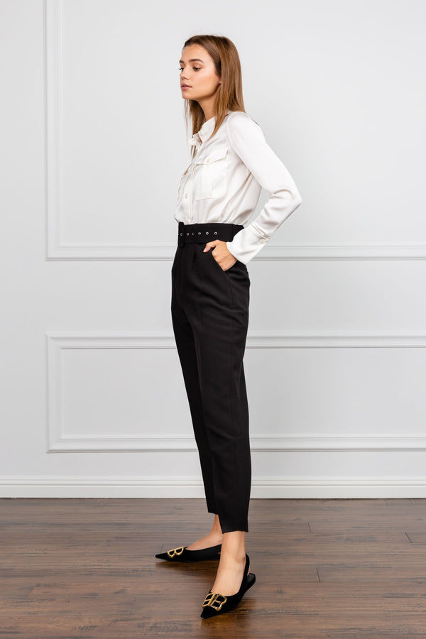 Bernie Black Belted Cropped Trousers