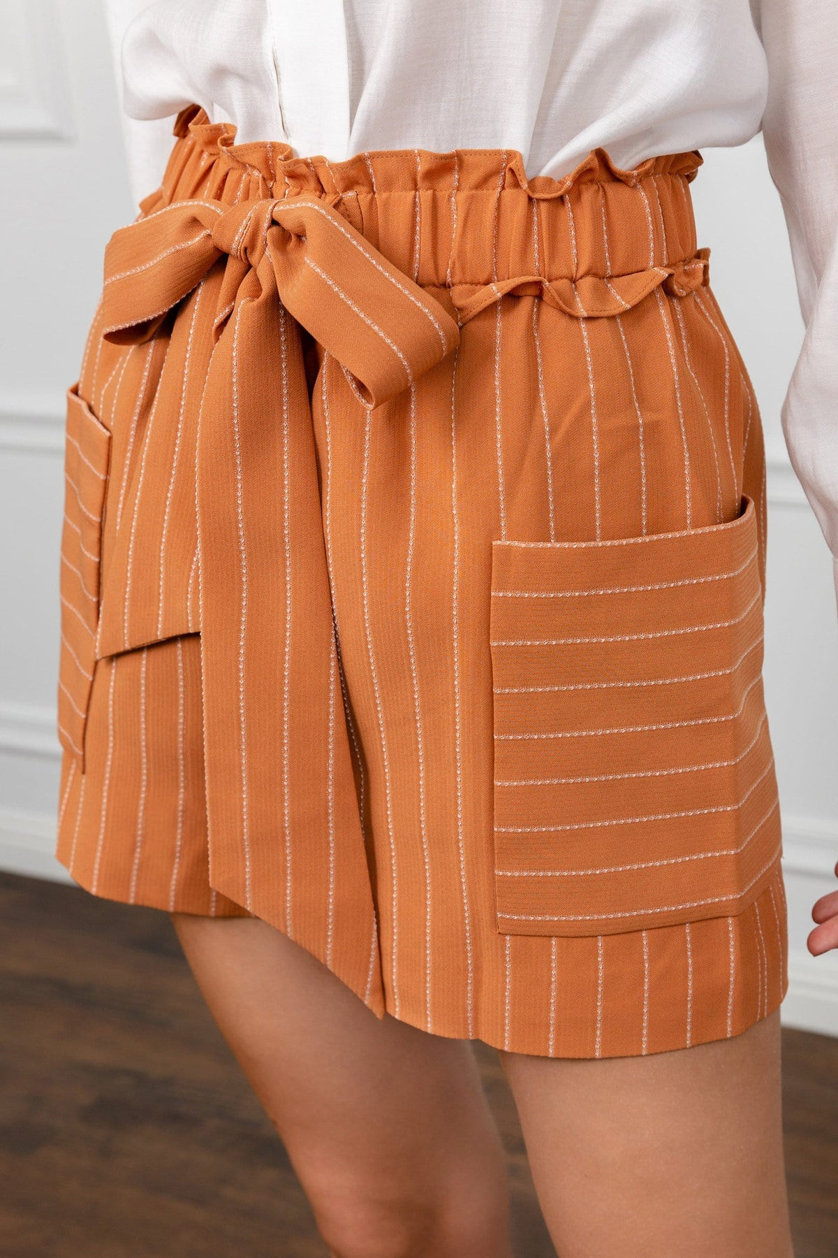 Sophie Orange Striped Shorts