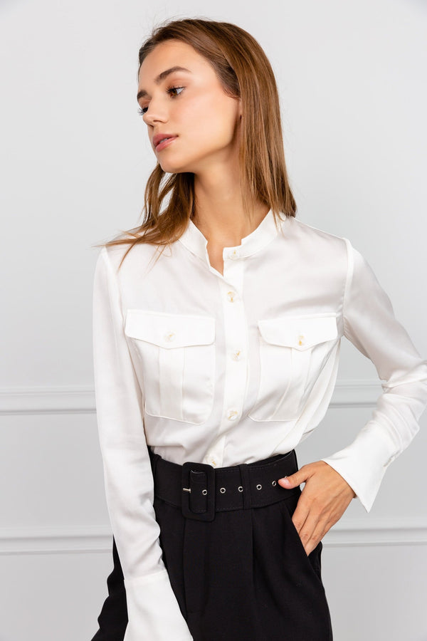 Colleen White Collarless Blouse