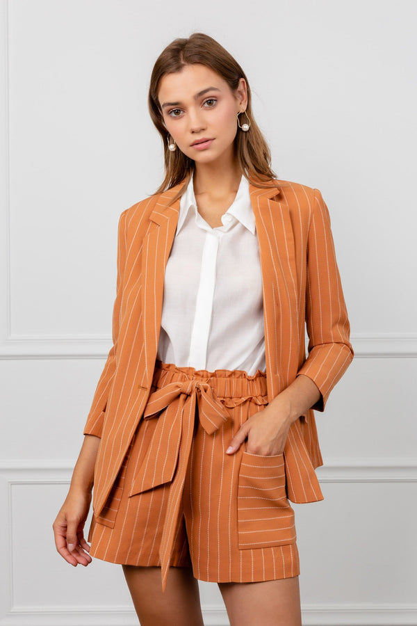 orange striped fitted women's blazer by j.ing workwear